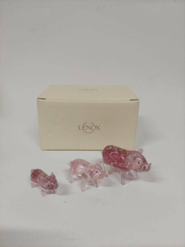 LENOX Piggy Parade Art Glass Pig Figurines Set of 3 New Open Box