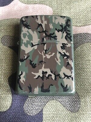 1989 Vintage Zippo Army Camo Camouflage Lighter Green Matte Finish