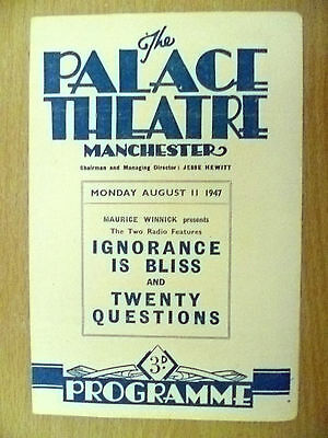 Palace Theatre Programme 1947- IGNORANCE IS BLISS & TWENTY QUESTIONS