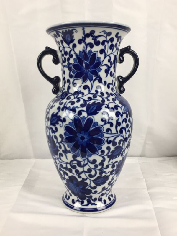 """CHINESE BLUE AND WHITE PORCELAIN VASE, 12"""" Painted Flowers"""