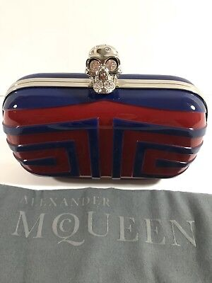 Alexander McQueen Blue & Red Designer Scull Clutch