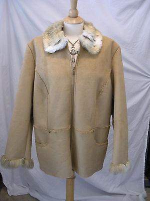 LOVE~! NWOT $155 STYLE & CO Tan Faux Shearling Leather Lynx Fur Jacket Coat 18W -