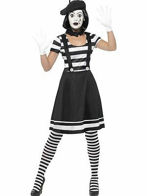 Mime Artist Womens Costume Ladies Fancy Dress Outfit Dressup