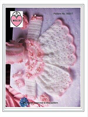 - Baby coat, bonnet, bootees crochet pattern. Romany matinee set. pram set. girl.