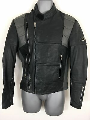 MENS VINTAGE MQP BLACK REAL LEATHER ZIP UP MOTORCYCLE BIKE JACKET SIZE GB 36