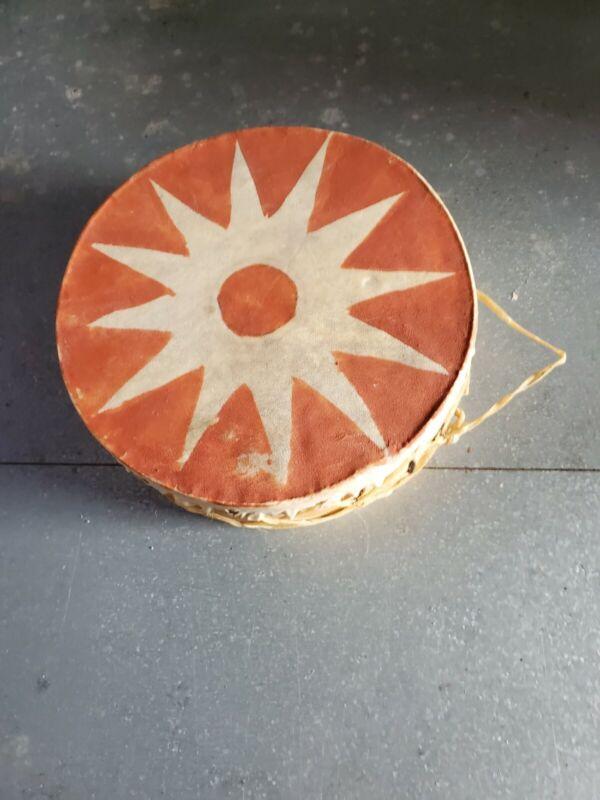 Vintage Native American Tree Wood & Buckskin ? Elk? Hide Drum Double Sided