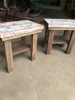 Recycled timber hardwood bed side tables