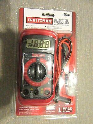New Craftsman 8 Function Digital Multimeter Ac Dc Volt Ohms Tester Digital 82141