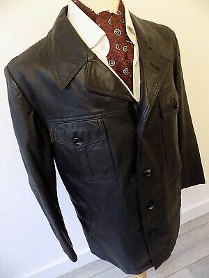 VINTAGE mens 1970's BWS MOD BLACK SOFT LEATHER SAFARI JACKET BLAZER 44""