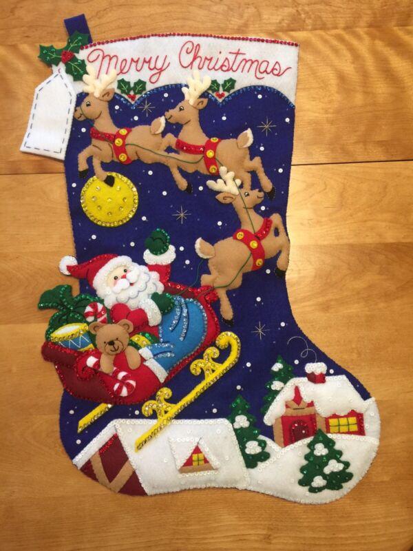 "JUMBO Christmas Night - Bucilla Felt Christmas Stocking Finished - Hand Sewn 28"""