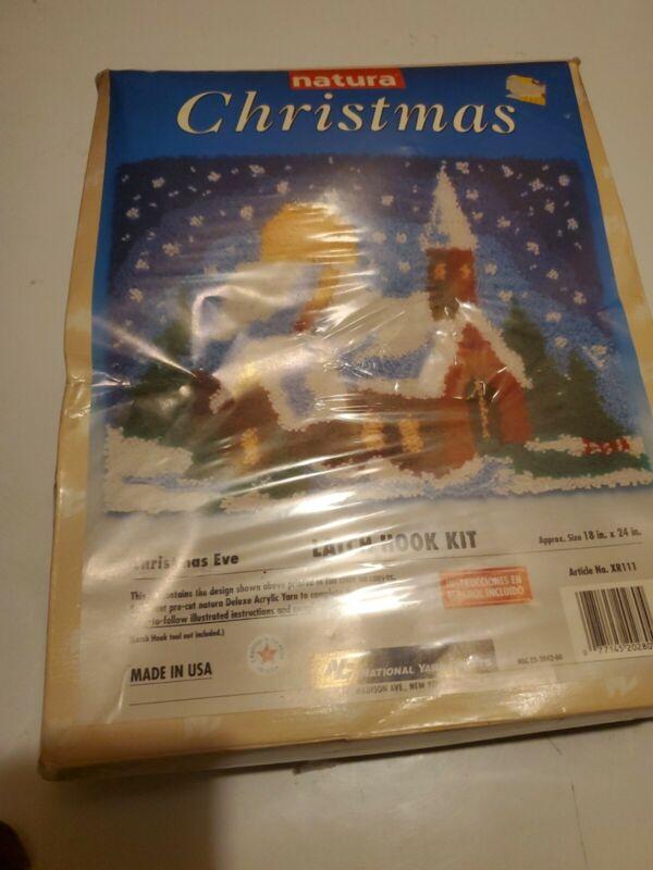 Natura Christmas Latch Hook Kit  Christmas Eve  18 X 24 Rug Natl Yarn