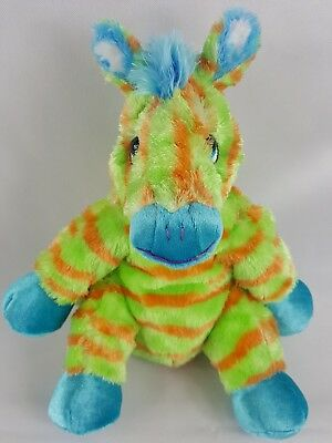 "10"" Princess Soft Toys ZEBRA BEANIE Orange & Green Striped Plush Toy Very Soft"