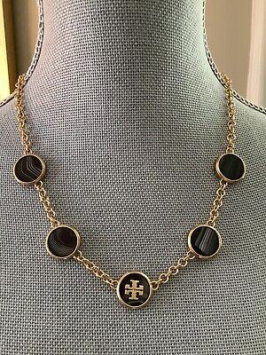 NIB Tory Burch Semi-Precious Pendant Necklace Black Gold Logo