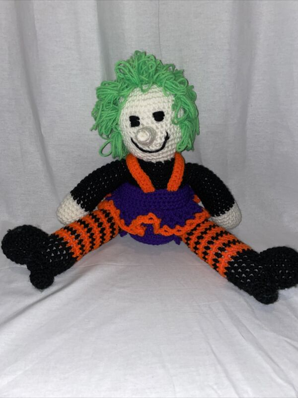 Vintage Crochet Witch Stuffed Halloween Decoration eclectic handmade quirky
