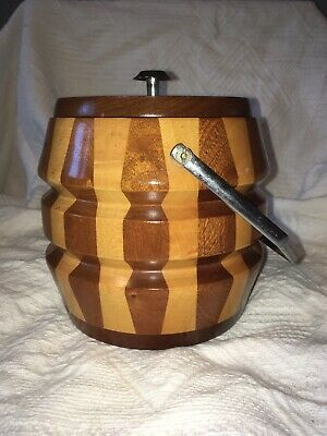 Vintage Cambridge Ware Wooden Ice Bucket, Bar, Barware, Retro, Kitsch