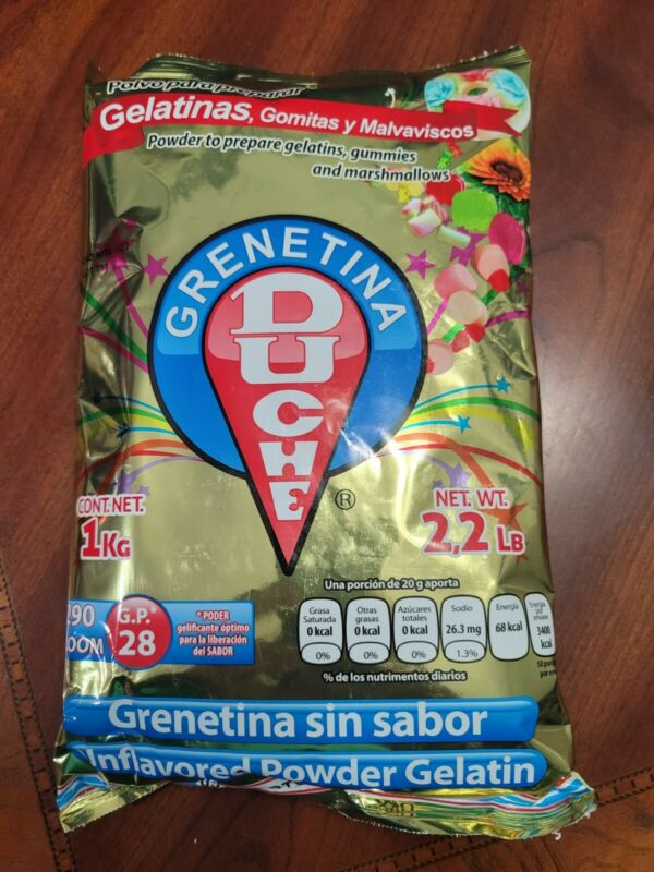 Grenetina Duche 1 Kilogram(2.2 Lb) Grenetina Sin Sabor Unflavored Pwder Gelatin