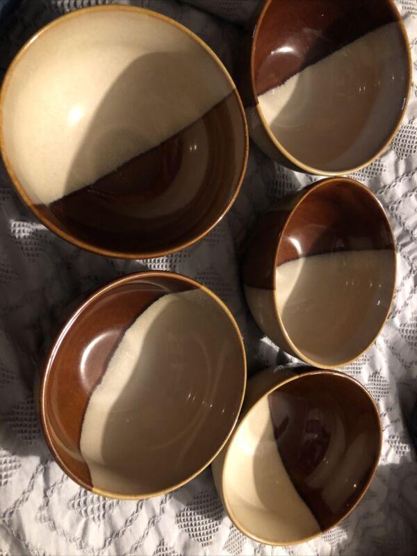 Set Of 5 Sango Avanti Brown Ice Cream Bowls