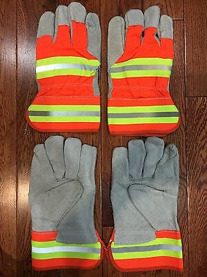 2 Pair Leather Working Gloves Mens Reflective Strips Standard Utility Work