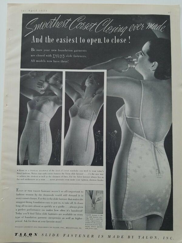 1938 Talon slide zipper fastener vintage women