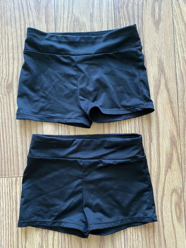 Two Pairs Of Black Danskin Freestyle Kids Dance Or Workout Shorts Size 7/8