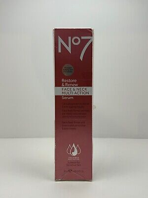 NEW!! BOOTS No.7 Restore & Renew Face & Neck Multi Action Serum 1.69oz (1047)