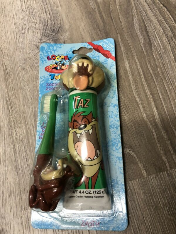 """vintage looney tunes taz tooth brush """"zoothbrush"""" Rare Toothpaste"""