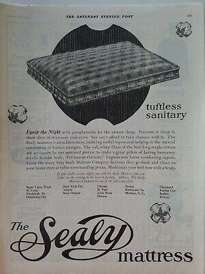 1922 Sealy Tuftless Sanitario Cama Colchón Vintage Original Anuncio
