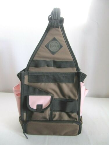 Super Cool Arena Bag Pink Brown 18 Pockets Canvas Craft Tool Storage