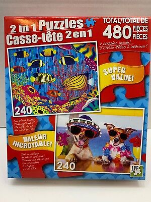 New 480 piece 2 in 1 Puzzle: Angelfish Family, Two Funny Dogs Drinking - Two Funny Dogs