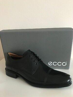 (NEW ECCO CAIRO CAP TOE TIE OXFORD MEN'S LEATHER SHOES BLACK )