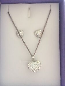 NEVER WORN heart shaped necklace and earrings