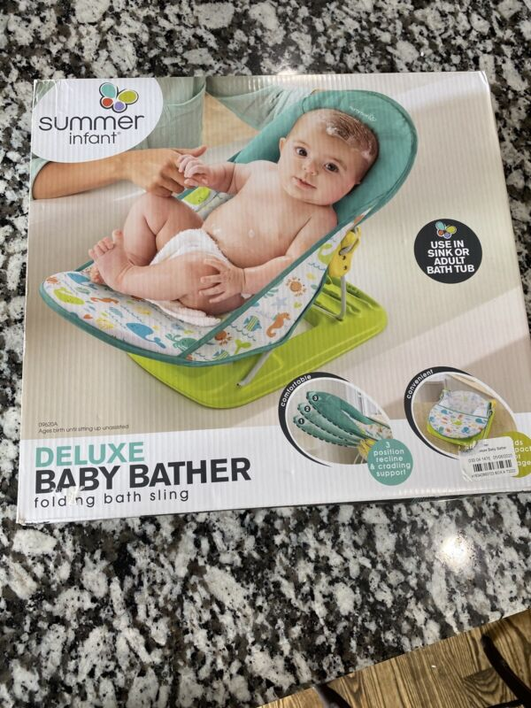 NEW Summer Infant Deluxe Baby Bather, Bath Seat/Folding Bath Sling - Free Ship