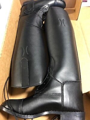 Devon Aire English Field Boot Black Leather-Like  Ladies 5R NIB  - Leather Like Field Boot