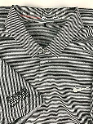 Nike Tiger Woods Katten Private Equity Snap Front Polo Golf Shirt sz M Gray