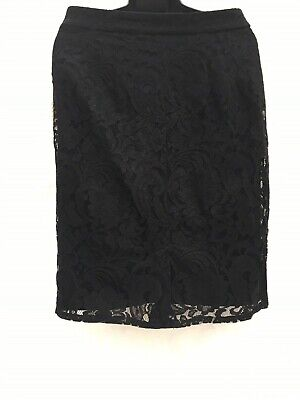 - Chico's Black Flat-front Floral Lace Pencil Skirt
