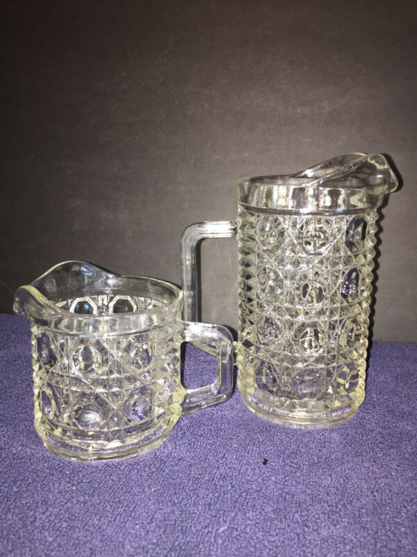 VTG Federal Glass Pint Milk Pitcher and Creamer Windsor Button and Cane Pressed
