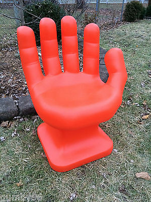"GIANT Orange HAND SHAPED CHAIR 32"" tall adult size 70's Retro EAMES iCarly NEW"