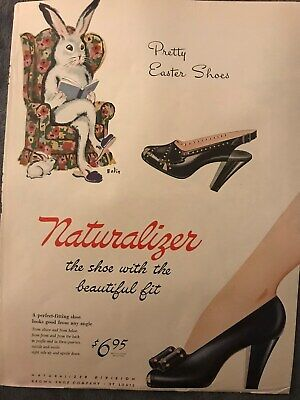 Naturalizer Shoes~Pretty Easter Shoes Easter Bunny~1945 Vintage Print AD A98