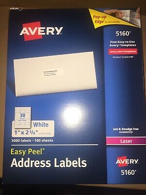 New 2x 750 Avery Laser Address Labels 5160 Easy Peel White 1 X 2-58