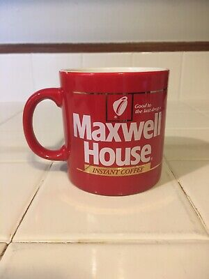 Vintage 1980's Instant MAXWELL HOUSE Coffee/Tea Cup Mug 12 oz. Red & Gold D