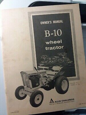 Allis Chalmers B-10 Garden Tractor Original Owner Operator Manual