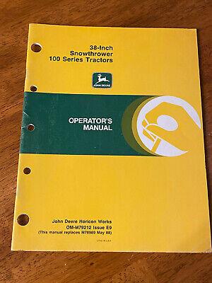 John Deere 100 Series Tractor 38-inch Snowthrower Operators Manual Om-m79212