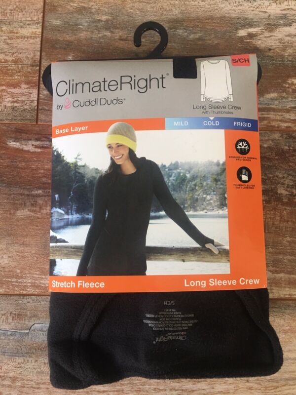 NEW CLIMATE RIGHT CUDDL DUDS S Stretch FLEECE Long Sleeve Crew Base Layer COLD