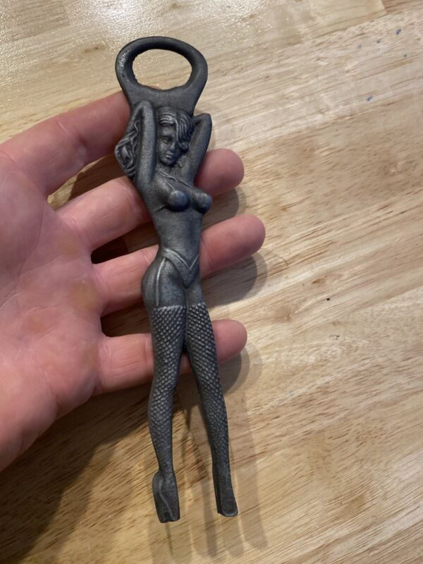 Exotic Dancer Stripper Bottle Opener Solid Metal Patina Beer Coca Cola Coke Soda