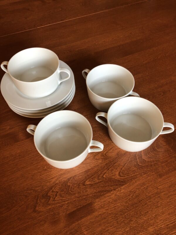 4 BLOCK SPAL Portugal LISBOA WHITE Collection Soup Bowls with handles and Saucer