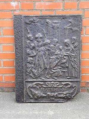 GROSSE Antike Kaminplatte Eisenguss Platte Gusseisen Ofenplatte Kaminplatten