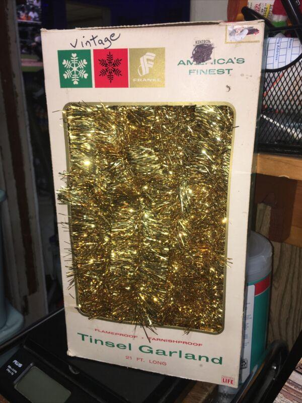 "VINTAGE TINSEL GARLAND~21 FEET~Gold 1-3/4"" WIDE~NEW!!~TARNISH PROOF~USA"