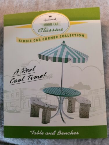 1998 Hallmark Kiddie Car Classics Table and Benches ~ NEW ~ Fast Shipping!