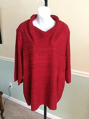 Catherine's Red 3/4 Bell Sleeved Cowl Neck Acrylic Blend Sweater - 2X