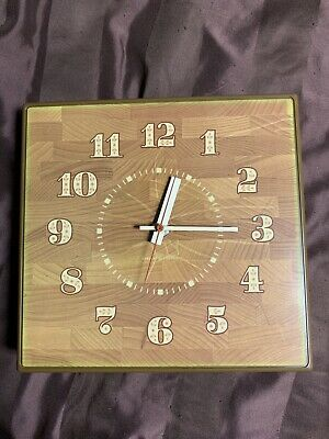 VTG Mid Century General Electric Model 2175 Kitchen Wall Clock USA Brown Green